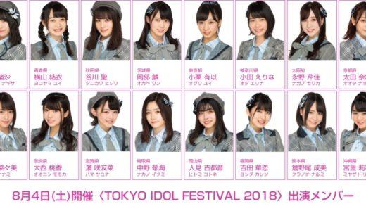 8月4日(土)の〈TIF2018〉チーム8出演メンバー決定!